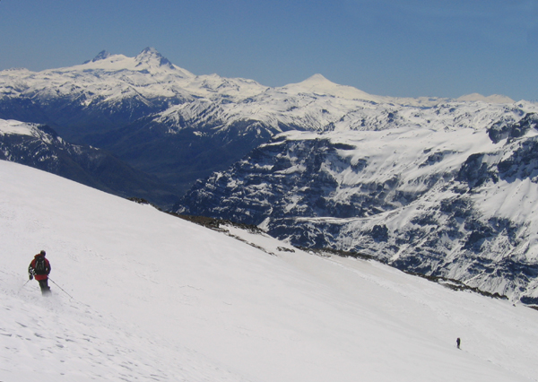 Skiing from the summit of Volcan Copahue on the Chile-Argentina border.