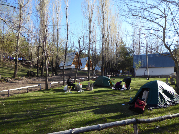 Camping at Aguas Calientes, a great place to relax after a days skiing, 15ºC, sunny and with running hot water.
