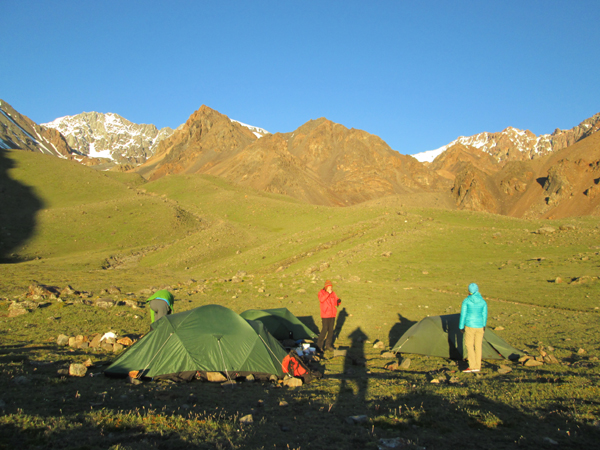 Sunrise at our acclimatisation camp in the Cordon del Plata.