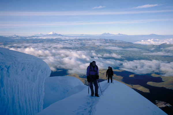 Climbing at high altitude on Cayambe in Ecuador