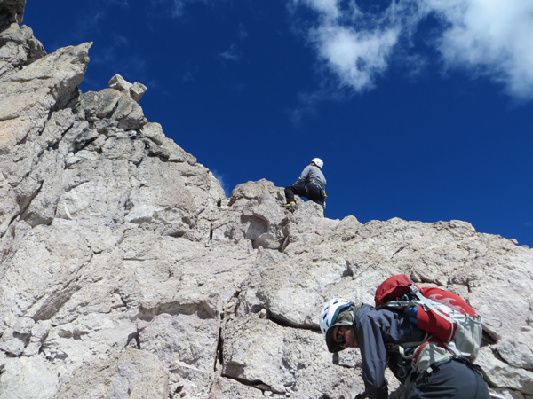 Climbing on the north ridge of Toro Rumi, Cordillera Huanzo