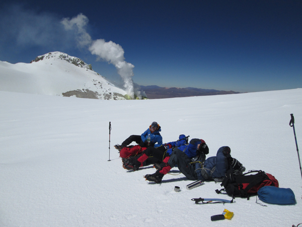 Resting just beneath the summit of Volcan Guallatiri.