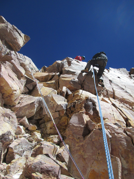 Abseiling back down the short pitch at 6850m on Ojos del Salado.