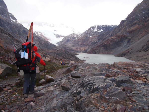 Approaching the Marconi glacier and Lago Electrico in poor weather.