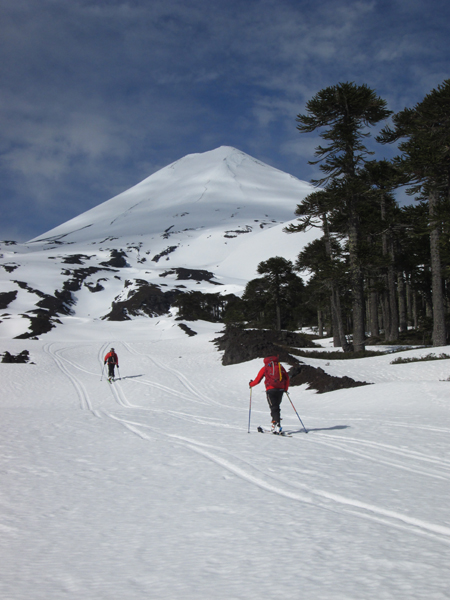 Skiing up Volcan Llaima near the start of the trip.