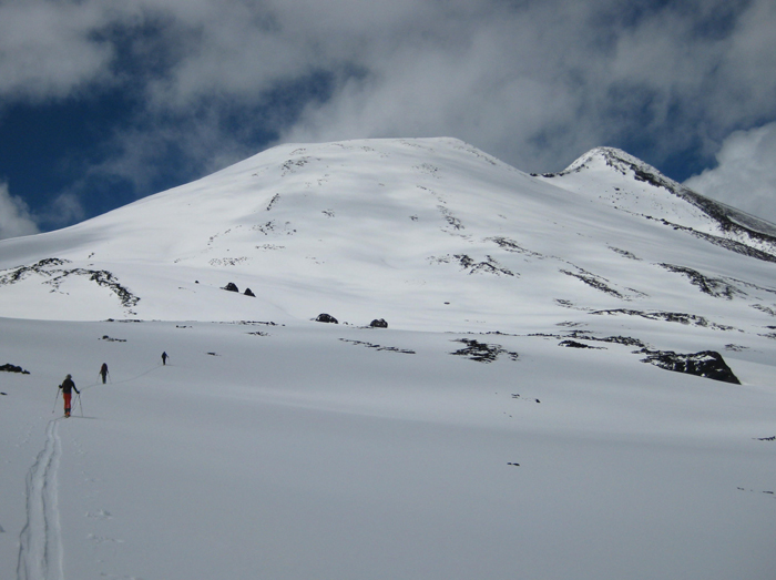 Skiing on Volcan Casablanca, Chile.