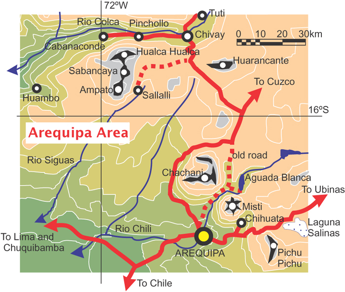 Arequipa area mountian map