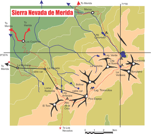 Map of the Sierra nevada de merida, Venezuela