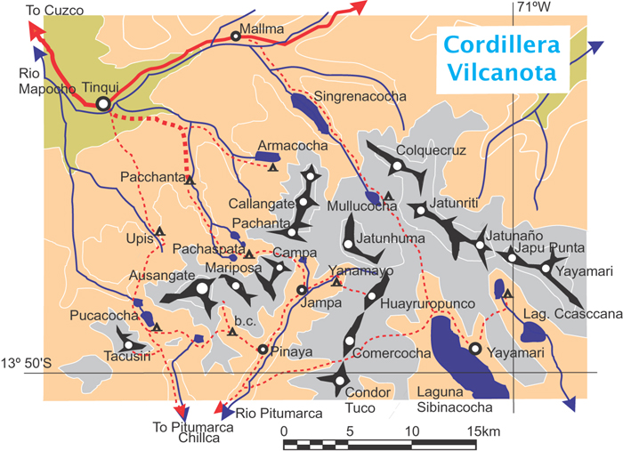 Map of the Cordillera Vilcanota