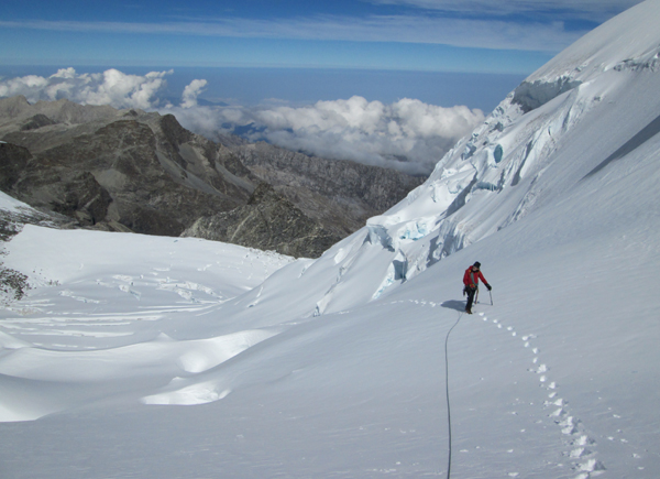 Climbing the glacier on Pico Colon, Colombia